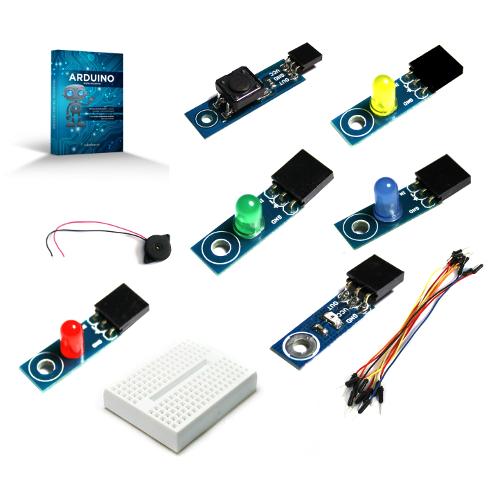 """Un kit special creat pentru cei care vor sa inceapa programarea pe platforma Arduino. Contine o carte """"Arduino pentru Incepatori"""" in limba romana si o serie de componente brick special gandite ca sa incepi foarte simplu. Fiecare componenta vine cu un conector special gandit special pentru conectarea simpla la Arduino, fara lipire."""